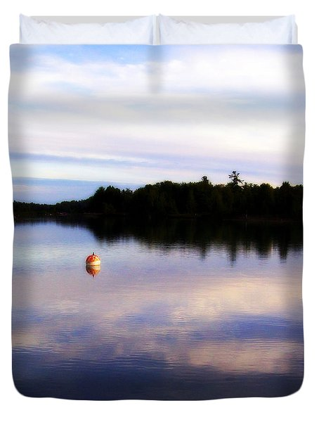 Buoy On The Torch Bayou Duvet Cover by Michelle Calkins