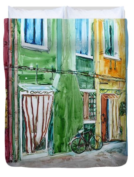 Duvet Cover featuring the painting Burano by Anna Ruzsan