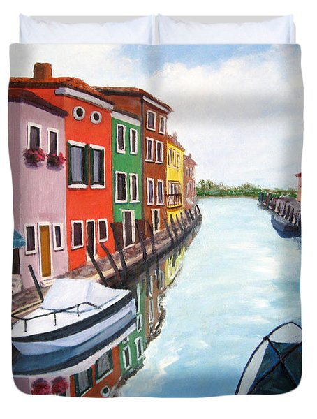 Duvet Cover featuring the painting Burano by Cheryl Del Toro