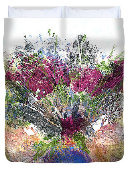 Burgundy Bouquet In A Blue Vase Duvet Cover by Jessica Wright