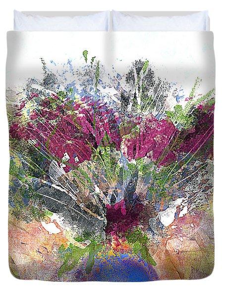 Burgundy Bouquet In A Blue Vase Duvet Cover