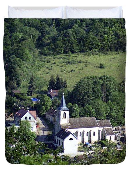 Burgundy Village Duvet Cover