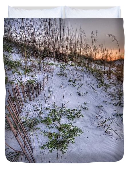 Duvet Cover featuring the digital art Buried Fences by Michael Thomas