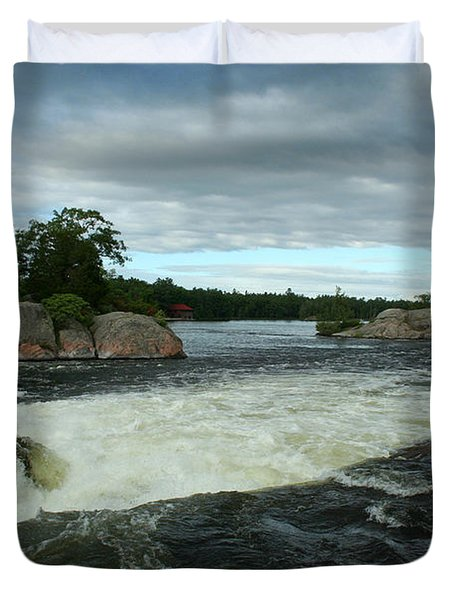 Duvet Cover featuring the photograph Burleigh Falls by Barbara McMahon