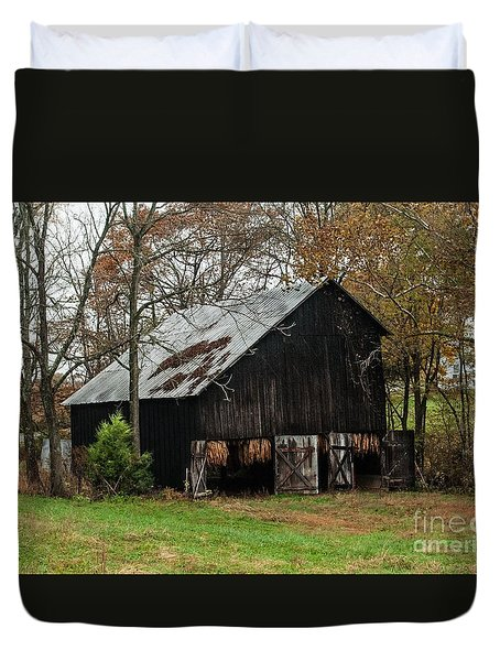 Duvet Cover featuring the photograph Burley Tobacco  Barn by Debbie Green