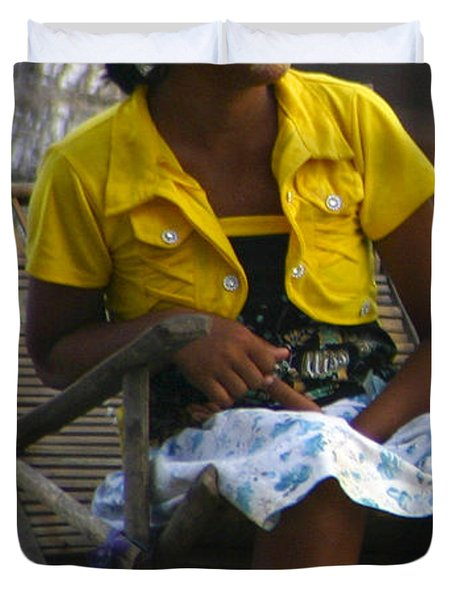 Burmese Girl With Traditional Thanaka Face Painting Sitting On Chair Yangon Myanmar Duvet Cover