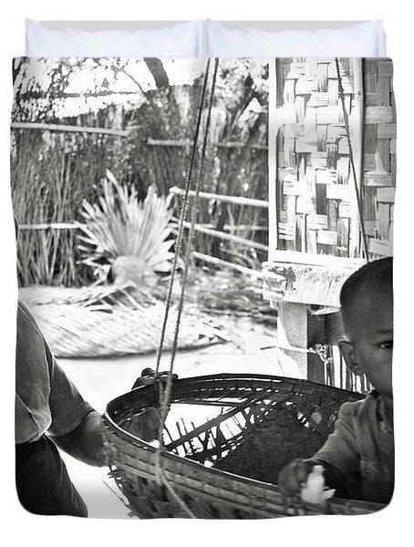 Burmese Grandmother And Grandchild Duvet Cover by RicardMN Photography