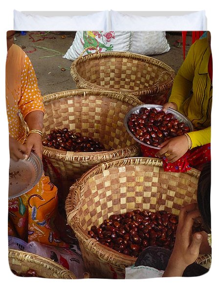 Duvet Cover featuring the photograph Burmese Ladies Sorting Water Chestnuts Zay Cho Street Market 29th Street Mandalay Burma by Ralph A  Ledergerber-Photography