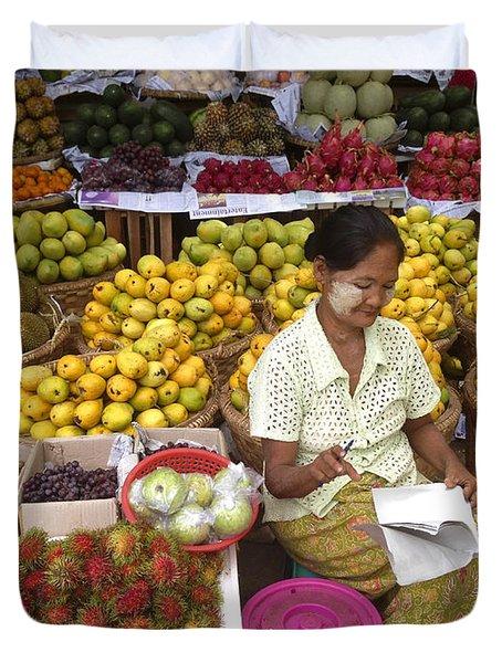 Burmese Lady Selling Colourful Fresh Fruit Zay Cho Street Market 27th Street Mandalay Burma Duvet Cover