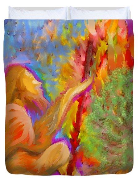 Burning Bush Of Yhwh Duvet Cover by Hidden  Mountain