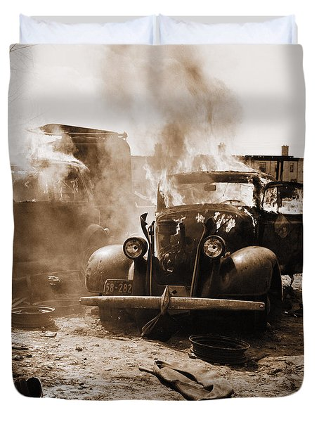 Burning Car Circa 1942  Duvet Cover