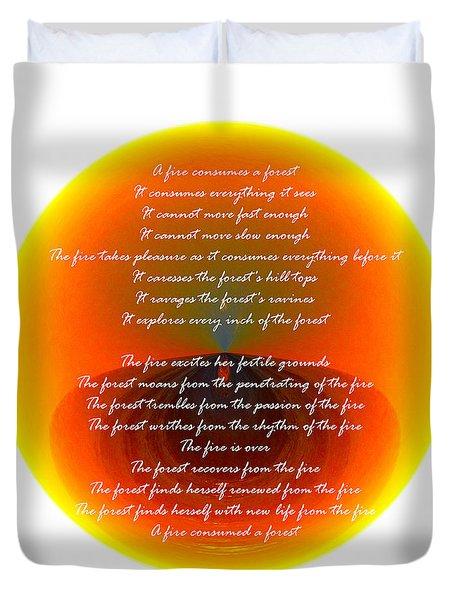 Burning Orb With Poem Duvet Cover by Brent Dolliver