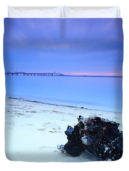 Duvet Cover featuring the photograph Burnt Driftwood Sunset by Jennifer Casey