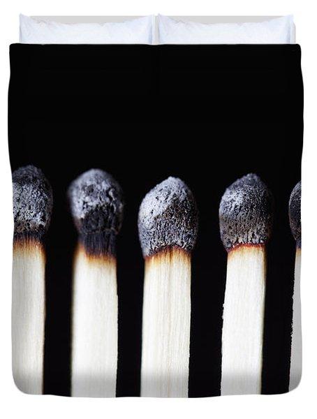 Burnt Matches On Black Duvet Cover