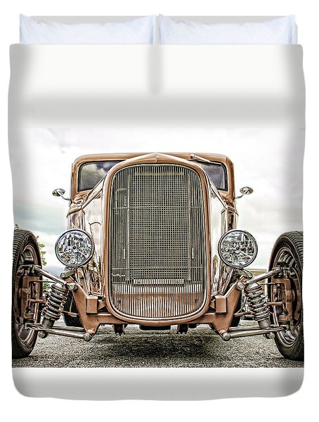 Burnt Orange Hot Rod Duvet Cover