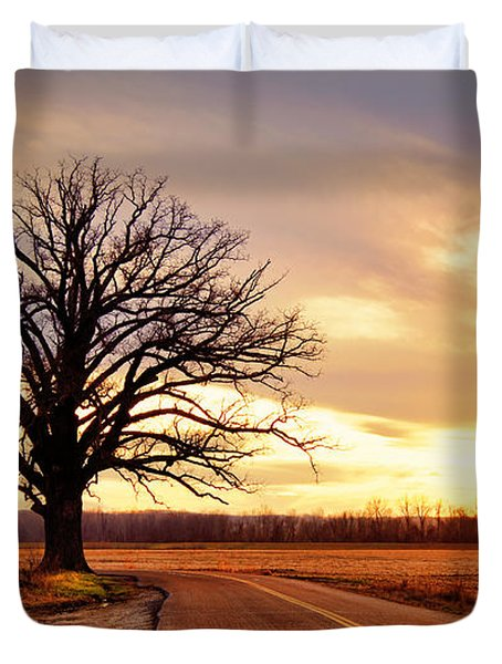 Burr Oak Silhouette Duvet Cover by Cricket Hackmann