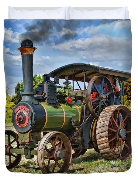 Duvet Cover featuring the digital art Burrell Steam Engine  by Paul Gulliver
