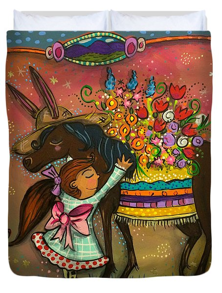 Duvet Cover featuring the painting Burro Hugs by Marti McGinnis
