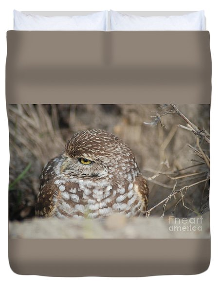 Duvet Cover featuring the photograph Burrowing Owl by Oksana Semenchenko