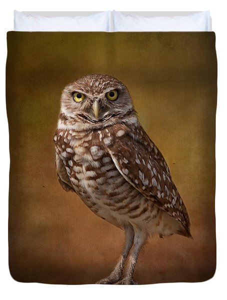Burrowing Owl Portrait Duvet Cover by Kim Hojnacki