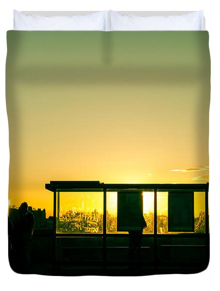 Bus Stop At Sunset Duvet Cover