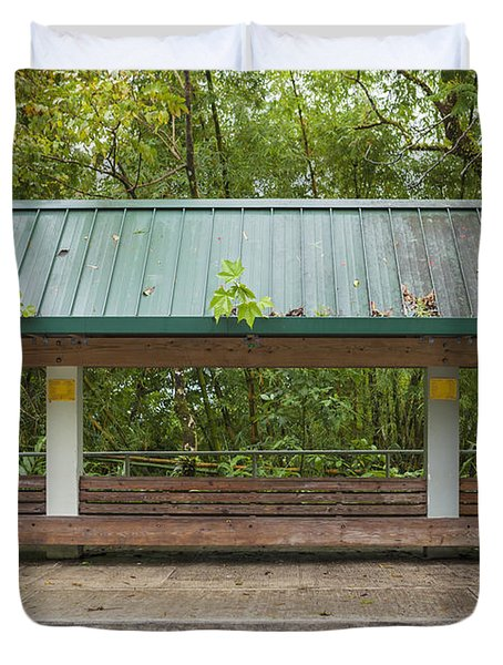 Bus Stop Bench In The Rainforest  Duvet Cover