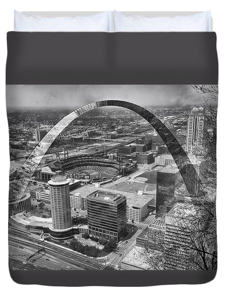 Busch Stadium Bw A View From The Arch Merged Image Duvet Cover