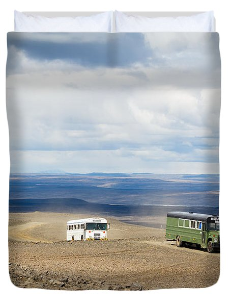 Duvet Cover featuring the photograph Buses Of Landmannalaugar by Peta Thames