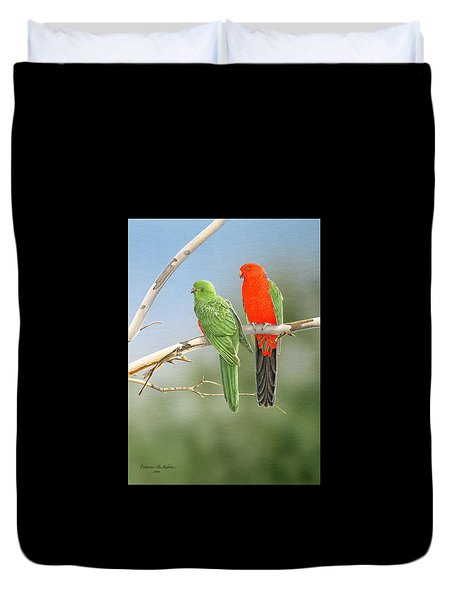 Bush Monarchs - King Parrots Duvet Cover