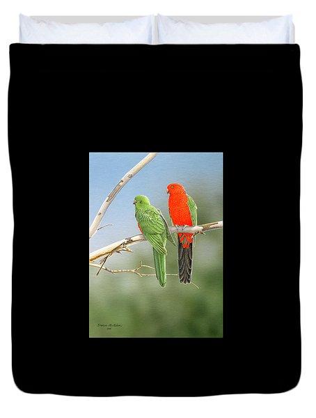 Bush Monarchs - King Parrots Duvet Cover by Frances McMahon