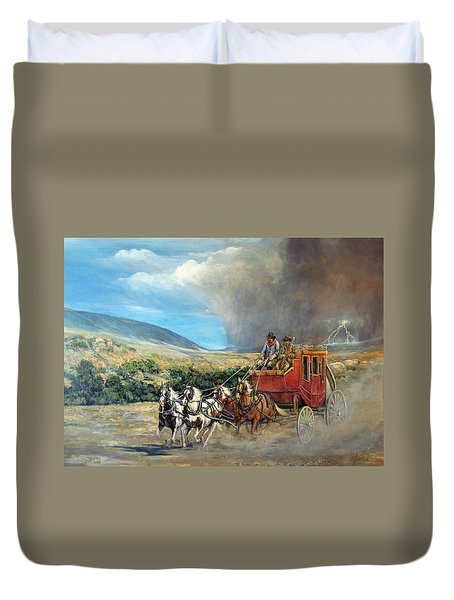 Duvet Cover featuring the painting Business As Usual by Donna Tucker