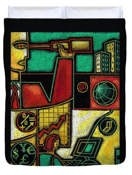 Business Duvet Cover by Leon Zernitsky