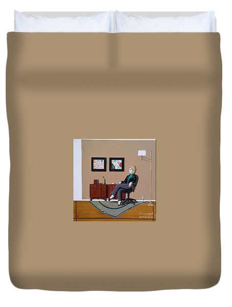 Businesswoman Sitting In Chair Duvet Cover by John Lyes