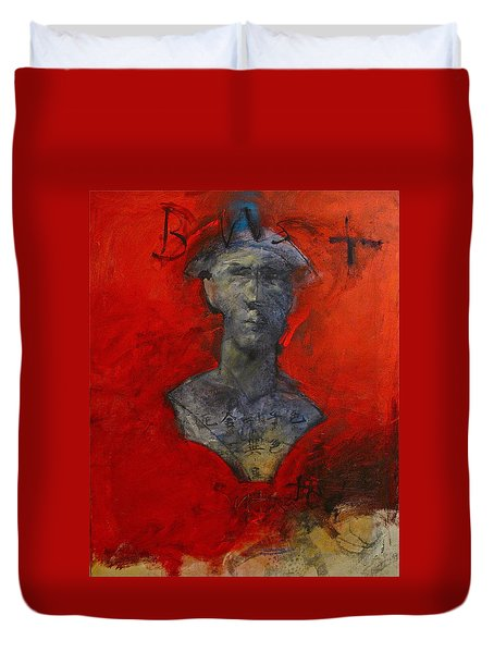 Duvet Cover featuring the painting Bust Ted - With Sawdust And Tinsel  by Cliff Spohn