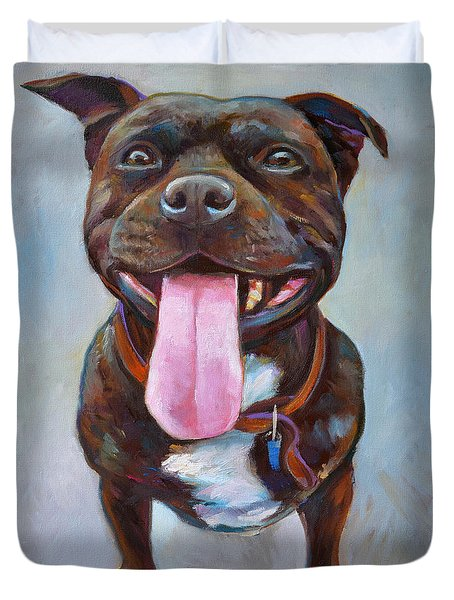 Duvet Cover featuring the painting Buster  by Robert Phelps