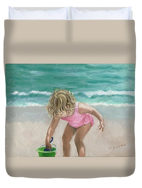 Busy Beach Girl Duvet Cover