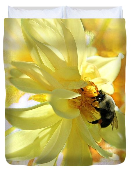 Busy Bumble Bee Duvet Cover by Judy Palkimas