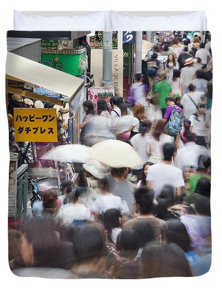 Busy Takeshita Dori Duvet Cover