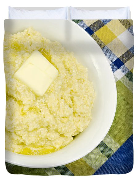 Cheese Grits With A Pat Of Butter Duvet Cover