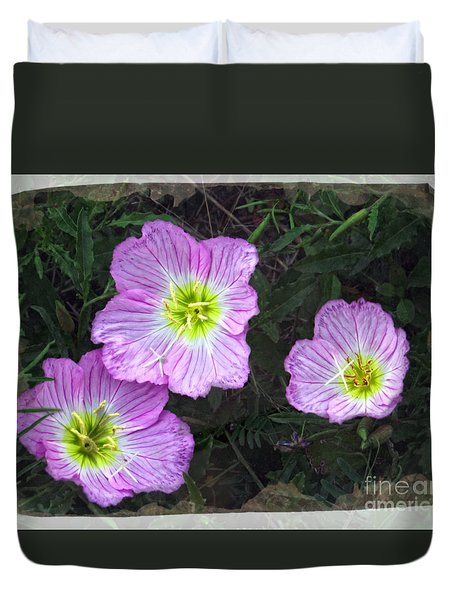 Buttercup Wildflowers - Pink Evening Primrose Duvet Cover