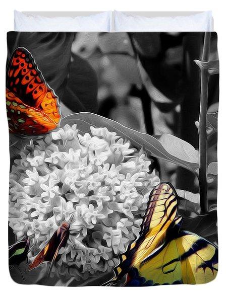 Duvet Cover featuring the digital art Butterflies At Rest by Kelvin Booker