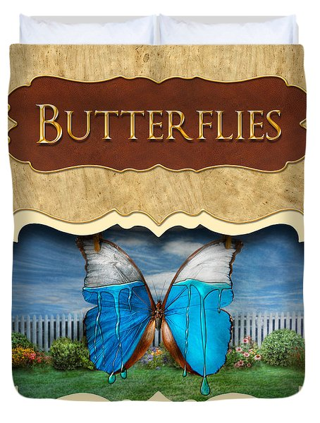 Butterflies Button Duvet Cover by Mike Savad