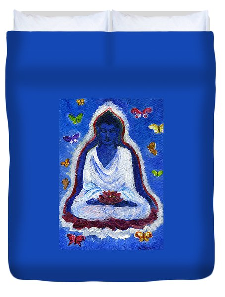 Butterflies Dream Of Buddha Duvet Cover