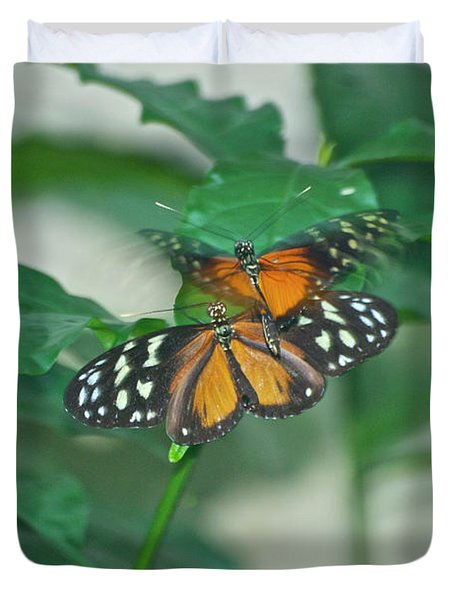 Duvet Cover featuring the photograph Butterflies Gentle Touch by Thomas Woolworth