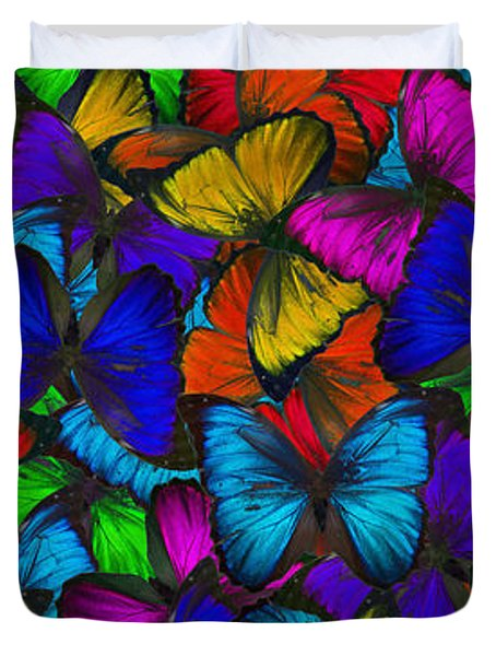 Duvet Cover featuring the photograph Butterflies In Flight Panorama by Kyle Hanson