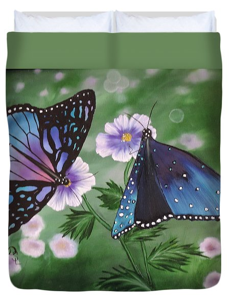 Duvet Cover featuring the painting Butterfly #2 by Dianna Lewis