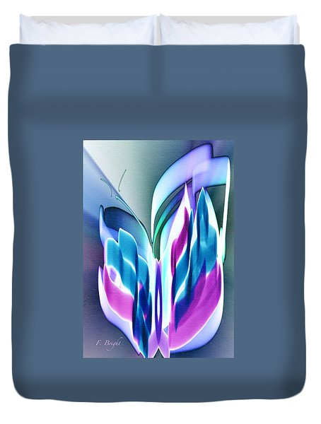 Duvet Cover featuring the digital art Butterfly Abstract 3 by Frank Bright