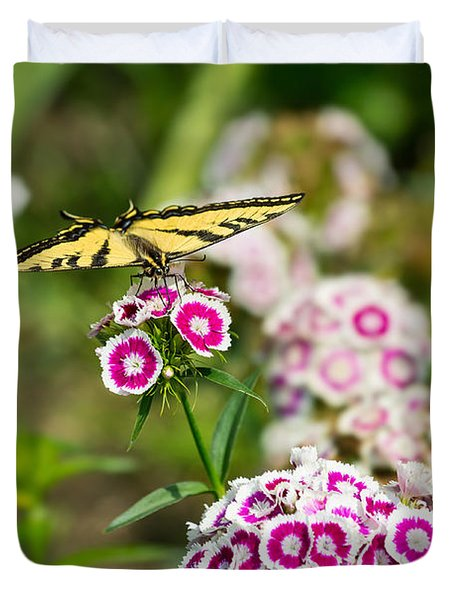 Butterfly And Bloom - Beautiful Spring Flowers And Tiger Swallowtail Butterfly. Duvet Cover by Jamie Pham