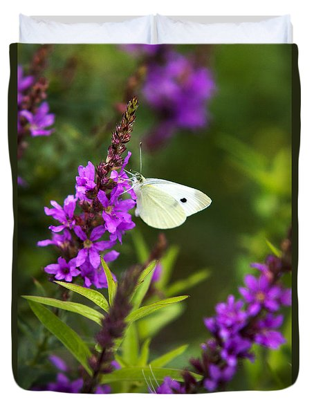Duvet Cover featuring the photograph Butterfly And Bouquet by Christina Rollo