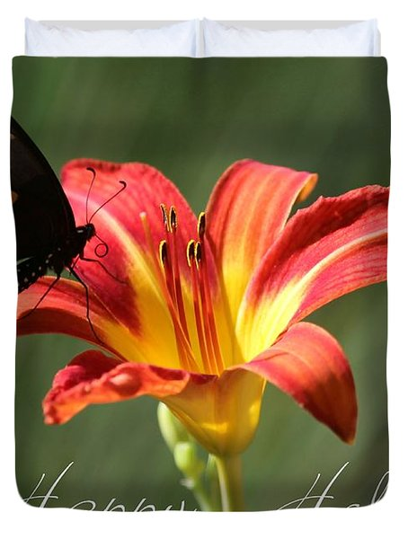 Butterfly And Lily Holiday Card Duvet Cover